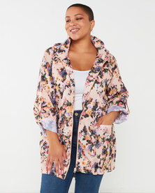 Brave Soul Plus Floral Print Hooded Mac Pink