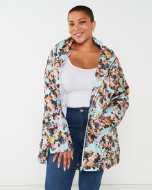 Brave Soul Plus Floral Print Hooded Mac Mint