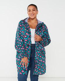 Brave Soul Plus Leopard Print Hooded Rain Mac Jade/Pink