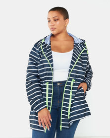 Brave Soul Plus Striped Raincoat Navy & White Stripe/Neon Green