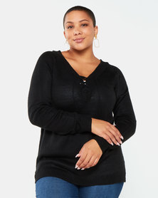 Brave Soul Plus Lace Up V-Neck Jumper Black