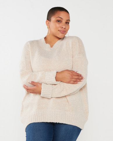 Brave Soul Plus Supersoft Turn-Up Cuff Jumper Oyster