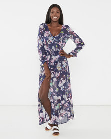 Brave Soul Long Length Beach Cover Up Button Through All Over Printed Dress Navy