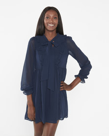 Brave Soul Long Sleeve Dress With Ruffle Detail Navy