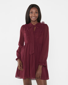 Brave Soul Long Sleeve Dress With Ruffle Detail Burgundy