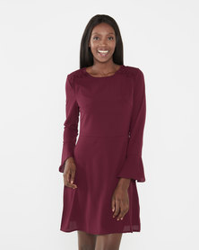 Brave Soul Dress With Ruffle Detail And Bell Sleeves Ruby Wine