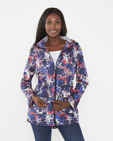 Brave Soul Abstract Camo Ladies All Over Print Mac With Detachable Hood Pink/ Purple