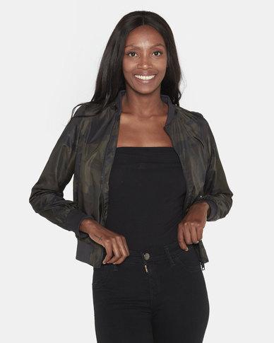 Brave Soul Camo Print Bomber Jacket Khaki