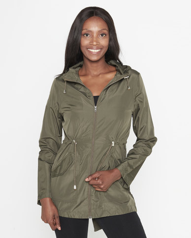 Brave Soul Butterfly Back Design Hooded Mac Jacket Khaki