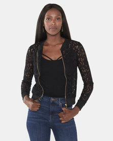 Brave Soul Sheer Lace Zip Bomber Jacket Black