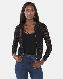 Brave Soul Sheer Lace Zip Bomber Jacket Black