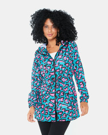 Brave Soul Leopard Showerproof Hooded Rain Mac Jacket Jade/Pink