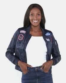 Brave Soul Aviation Badge Bomber Jacket Navy/Orange