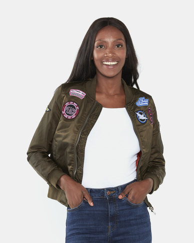 Brave Soul Aviation Badge Bomber Jacket Khaki/Orange