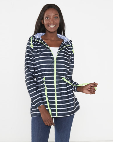 Brave Soul Stripe Neon Trim Raincoat Navy/White
