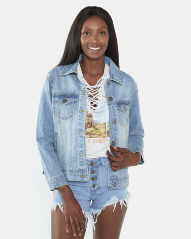 Brave Soul Mid Wash Slogan Back Embroidered Denim Jacket Blue