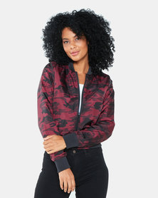 Brave Soul Camo Print Padded Bomber Jacket Red