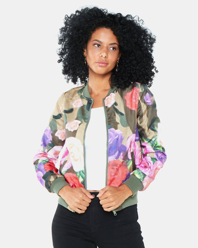 Brave Soul Floral Camo Double Layer Bomber Jacket Multi