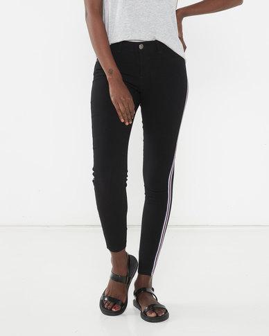 Brave Soul Side Stripe Detail Skinny Jeans Black