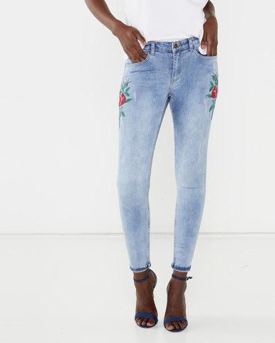 Brave Soul Floral Embroidery Skinny Jeans Blue