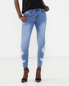 Brave Soul Floral Embroidered Leg Skinny Jeans Blue