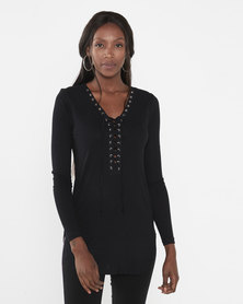 Brave Soul  Lean Ribbed Lace Up Longline Tunic Top Black