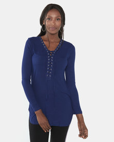 Brave Soul Lean Ribbed Lace Up Longline Tunic Top Sapphire Blue