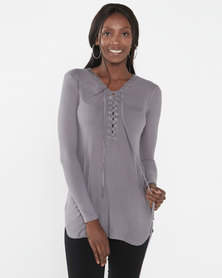 Brave Soul Dove Lean Ribbed Lace Up Longline Tunic Top Grey