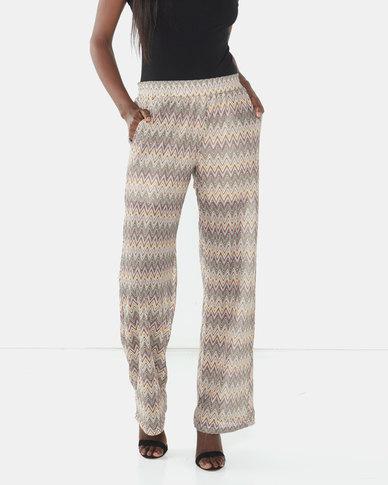 Brave Soul Wide Leg Zig-Zag Trousers Brown