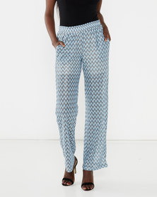 Brave Soul Wide Leg Zig-Zag Trousers Blue
