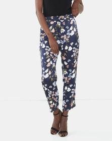 Brave Soul Floral Print Satin Trousers Navy