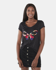 Brave Soul Butterfly Scoop Neck T-Shirt Black