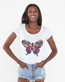 Brave Soul Butterfly Scoop Neck T-Shirt White