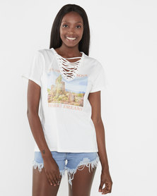 Brave Soul Scenic Desert Photo Print Laced Neck T-Shirt Cream