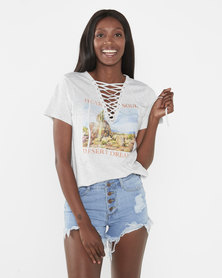 Brave Soul Marl Scenic Desert Photo Print Laced Neck T-Shirt Pale Grey