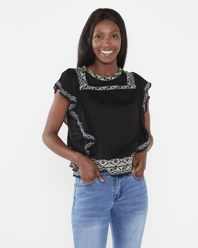 Brave Soul Aztec Embroidery Frill Sleeve Top Black