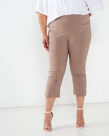 Queenspark Plus Collection Bengaline Tramline Woven Capri Mocha