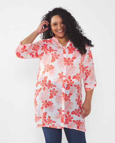 Queenspark Plus Collection Longer Length Ghost Woven Shirt Coral