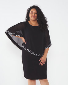 Queenspark Plus Collection Chiffon Overlay Glamour Knit Dress Black