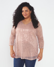 Queenspark Plus Collection Effervescent Sparkle Knit Top Pink