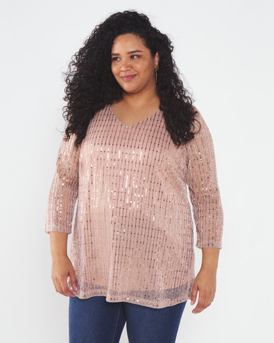 Queenspark Plus Collection Effervescent Sparkle Knit Top Pink