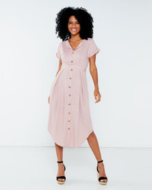 Miss Cassidy By Queenspark Curved Hem Button Through Woven Dress Pink