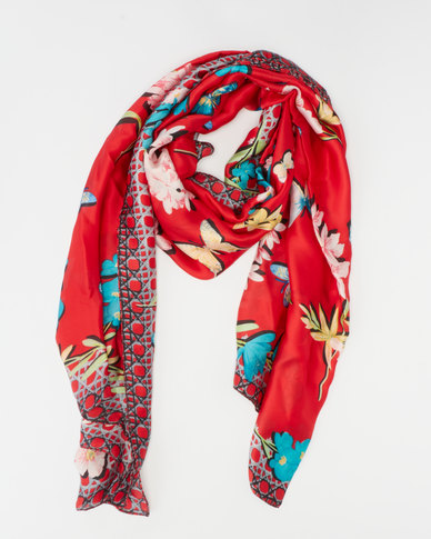 Queenspark Butterfly  & Flower Border Silk Touch Scarf Red