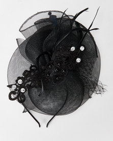 Queenspark Black Fascinator With Motif & Pearl Trim Black