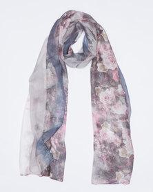 Queenspark Pretty Rose Print Silk Touch Scarf Grey