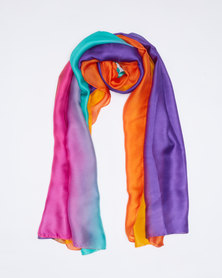 Queenspark Printed Satin Rainbow Scarf Multi