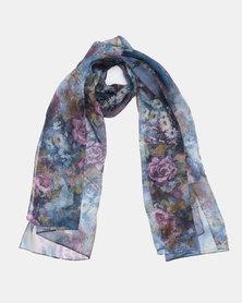 Queenspark Flower Print Silk Touch Scarf Purple