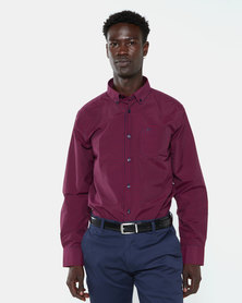 Jonathan D Tour Gingham Check Shirt Burgundy