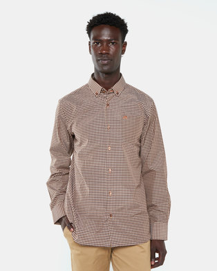 Jonathan D Tour Gingham Check Shirt Chocolate