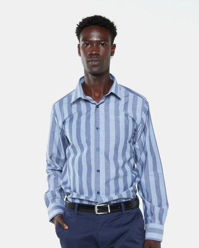 Jonathan D Usa Bold Vertical Stripe Shirt Navy